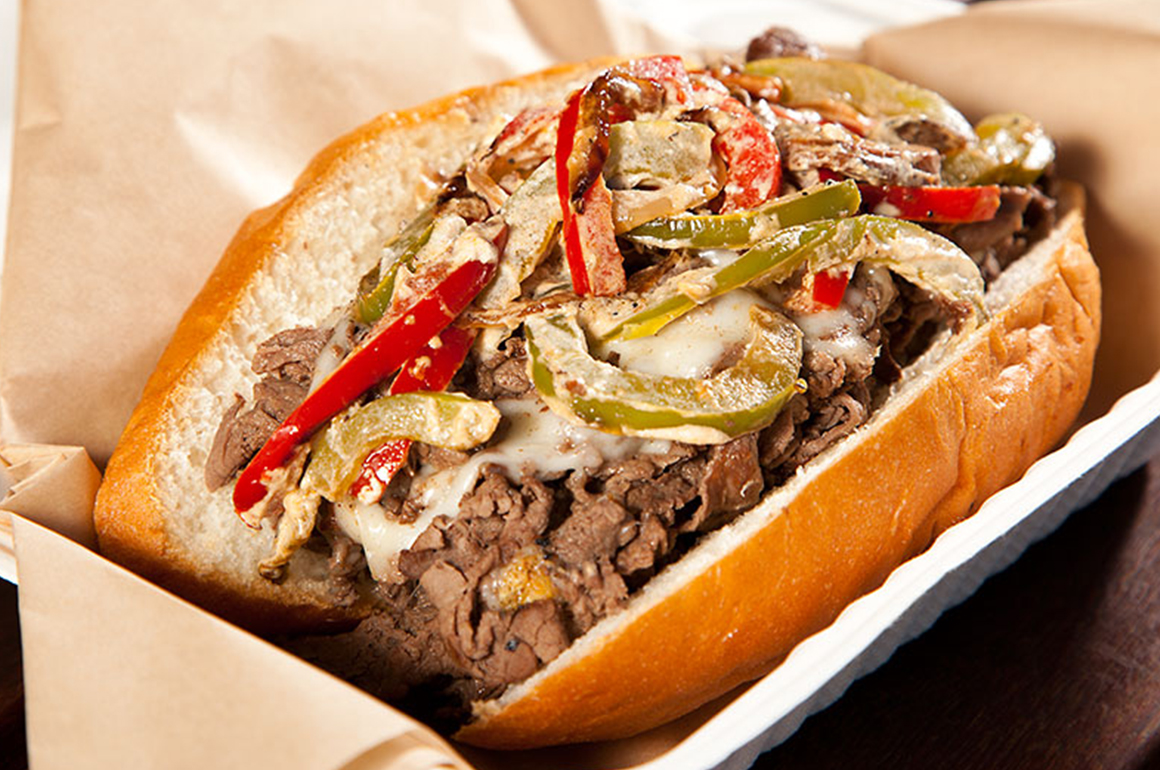 Big Jims famous philly cheese steak sandwich